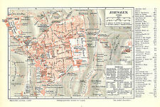 Historische, alte Stadtkarte 1895: Jerusalem. Stadtplan farbig Israel (M5)