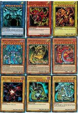 Ultimate 9 Gods Set: Slifer SKy, Obelisk, Winged + Uria Raviel Hamon + Blue-Eyes