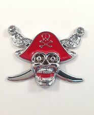 RED SILVER Pirate Skull Swords Skeleton 3D Car Sticker Badge Decal Emblem UK