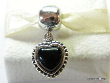 AUTHENTIC PANDORA CHARM  MI AMOR ONYX DANGLE CLIP #791046ON RETIRED HINGED BOX