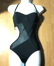 Victoria Secret Black Sexy Mesh cut out one piece swimsuit bathing suit small S