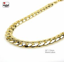 Men's Heavy 12mm Solid 14K Gold Plated Miami Cuban Link Chain Necklace 24""