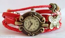 CUTE DIAL VINTAGE BRACELET WATCH FOR WOMEN - RED - FREE SPARE BATTERY