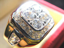 # 9.75 Men Man GOLD 24K RING Majestic CZ White Sapphire realistic Solitaire