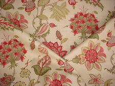 2-3/8Y GP & J BAKER BAKER'S INDIENNE RED / GREEN FLORAL LINEN UPHOLSTERY FABRIC
