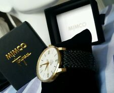 ♡♡♡ BNWT BOX MIMCO WATCH VARSITY JET Black  Leather with Antique GOLD Hardware