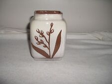 "SHEFFIELD POTTERY CREAM /BROWN FLORAL VASE 4-1/2"" HIGH'EXCELLENT"