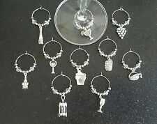 Wine and drinking themed wine glass charms set of 10.