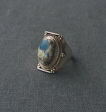 SUPERB huge 925 Sterling silver INDIA MADE AZURITE FUNKY GEMSTONE ring size N