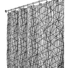 NEW InterDesign Abstract Fabric Shower Curtain, X-Long 72 x 84, Black/White
