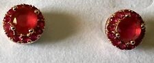 Vintage Rose Gold Prong Set Red Ruby Pave Gemstones Small Stud Pierced earrings