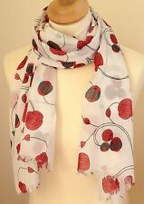 NEW 100% COTTON WOMEN'S MACKINTOSH STYLE RED ROSES PRINT SCARF