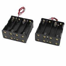 2Pcs Black Plastic Battery Holder Case w Wire for 8 x AA 12V Batteries LW