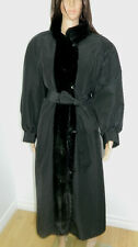 BLACK RAIN COAT INSIDE SHEARED RABBIT FUR MINK FUR TRIM  Sz.XL v4