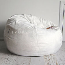 LARGE Ivory Velvet FUR BEANBAG Cover Soft Cloud Chair Bean Bag Reading Relaxing