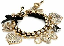 RARE BETSEY JOHNSON ICONIC PAVE CRYSTAL HEARTS & BOWS CHARM TOGGLE BRACELET~NWT