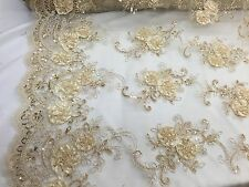 Champagne 3D Flowers Embroider On A Mesh Lace With Sequins.wedding/bridal fabric
