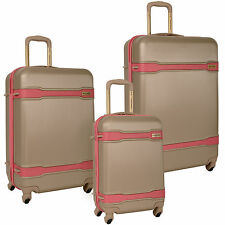 TOMMY BAHAMA SEVILLE TAUPE PINK 3 PIECE SPINNER LUGGAGE SET $1020 VALUE
