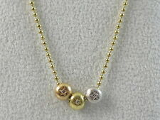 """18K H. Stern Tri-Color Diamond Star Necklace 17"""" Lobster Claw Bead Rose Yellow"""