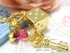 Paris Kids Japan Jewelry Necklace with Charm - Gold Dice, Pink Red Crystal & Key