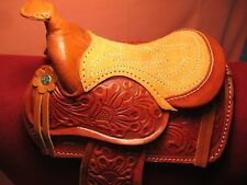 "SALESMAN SAMPLE SIZE LIGHT OIL Real Leather Western Saddle w Fleece 5.5"" Seat"