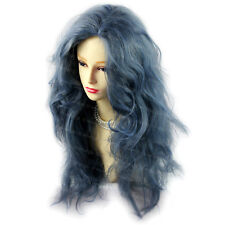Romantic SEXY Wild Untamed Long Curly Wig Gray Blue Ladies Wigs from WIWIGS UK