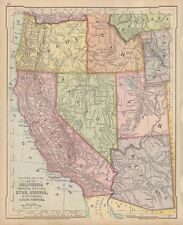 California & Western States 1875 Antique Map, Arizona Nevada Utah Idaho Oregon
