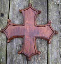 Medieval Style Cross Carved Wood Wall Plaque 25cm NEW Rough Hewn