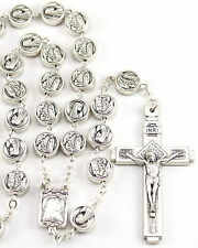 NEW LOVELY MADE IN ITALY OUR LADY OF LOURDES SILVER METAL BEAD ITALIAN ROSARY
