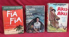 3 Book Lot-Fia Fia, 1st ed./Aku-Aku/South by Java Head