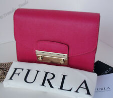 $328 Furla Julia Mini-Crossbody Bag Handbag Purse Saffiano Leather Gloss Pink