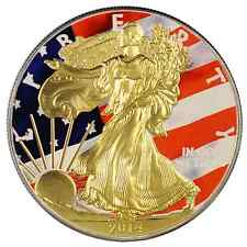 2014 American Silver Eagle Coin 1 Oz Ounce Flag Eagle 999 Gold Gilded