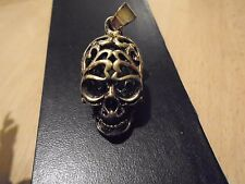 "BIG 38 mm HOLLOW BRONZE SKULL quality  pendant sculpted detail with 27"" necklace"