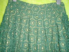 Moulinette Soeurs Antropología oscuro verde DE JADE Encaje Falda corta de algodón Completo