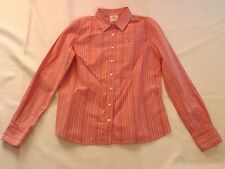 LADIES VINTAGE SIZE LARGE ABERCROMBIE & FITCH FUCHSIA STRIPED SHIRT CHEST 38""