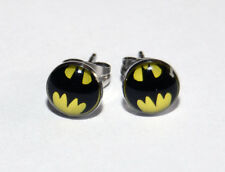 Pair of Batman Logo Button Ear Ring Studs. 10mm