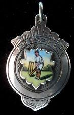 Attraente ARGENTO SMALTO MEDAGLIA / Orologio Fob-Cricket / Batsman 1925 Birmingham