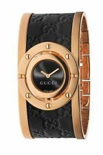 New Gucci YA112438 Twirl Rose Gold-Tone Guccissima Leather Bangle Women's Watch