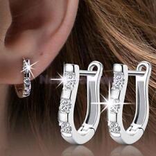 WOW New Fashion women Jewelry Rhinestone Crystal Silver Ear Stud Hoop Earrings