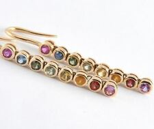E048S8- LONG 9ct SOLID Gold NATURAL Fancy Sapphire Journey Earrings Rainbow