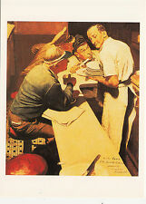 (P033) Postcard - Norman Rockwell - War News Listening for D-Day Invasion