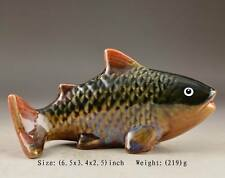 SUPERB CHINESE OLD HANDWORK PORCELAIN PAINTING FISH STATUE COLLECTIBLES