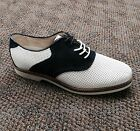 Men's Bass Signature Oxford Saddle Shoe Burlington White Perf / Navy Blue 2