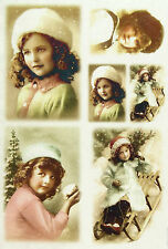 Ricepaper / Decoupage paper, Scrapbooking Sheet Old Pictures Girls in Winter
