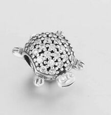 Authentic Genuine Pandora Sterling Silver Sparkling Sea Turtle Charm 791538CZ