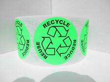 """RECYCLE REUSE REDUCE  1 3/4"""" circle green fluorescent  Stickers Labels 500/rl"""