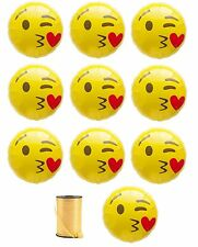 "NEW 11-pcs Blow Kisses EMOJI w/ Curling Ribbon EMOJI Mylar Balloons 18"" Decor"
