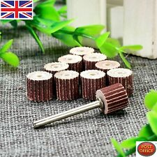 10PCS 240 Grit Flap Sanding Wheel Head Grinding Disc & 3mm Arbor for Rotary Tool