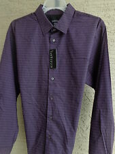 NWT Mens Van Heusen L/S Cotton Blend Shirt Purple mult pattern L 16-16.5