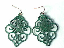 Patina Turquoise Metal Filigree Diamond Lace Dangle Earring Copper Wire